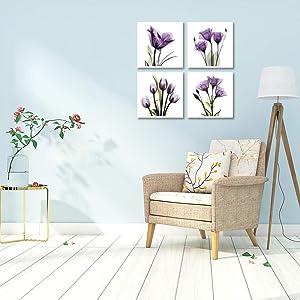 purple flower wall art