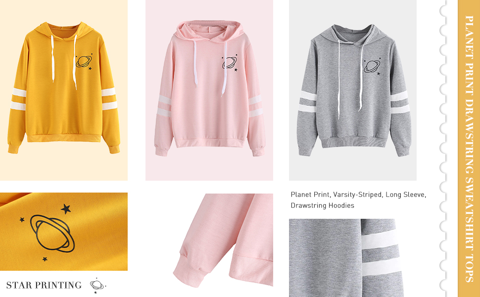 Planet Print Varsity-Striped Hoodie