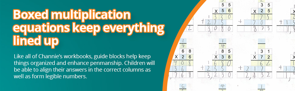 Channie's workbooks, guide blocks help keep things organized and enhance penmanship