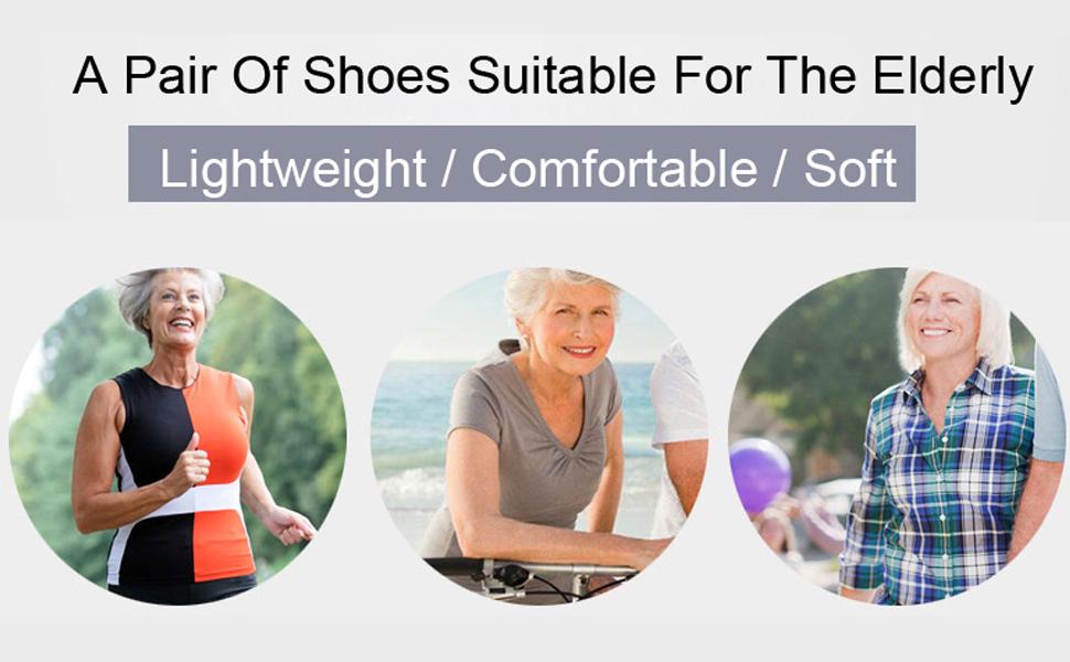 Leader Show Women's Comfort Walking Shoes Elderly Flats Lightweight Casual Double Strap Sneakers