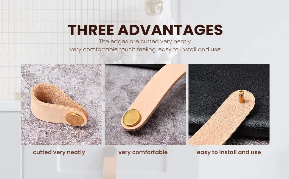 Leather pulls handle