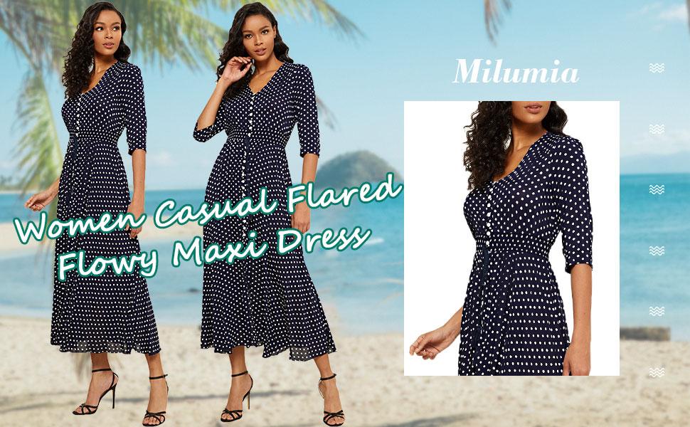 Milumia Women Casual Polka Dots Print Maxi Dress