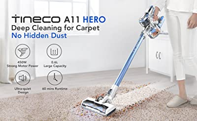 Tineco A11 Hero+ Cordless Vacuum Cleaner 450W Rating Power with HEPA Filter, Handheld Stick Vacuum Wall Mounted Dual Charging up to 60 Minutes Runtime Deep Clean Hardwood Floor Pet Hair