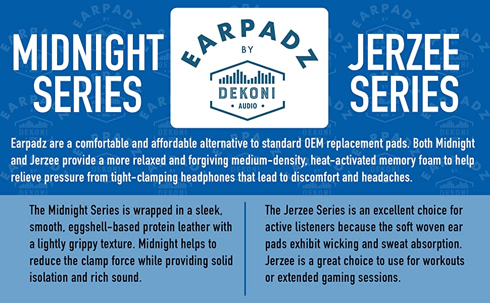 Earpadz Midnight and Jerzee series material overview