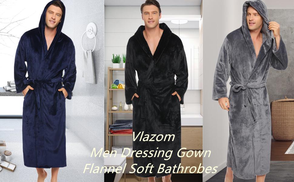 Vlazom Men Dressing Gown, Flannel Soft Hooded Bathrobes