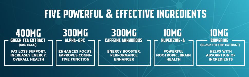 green tea, alpha-gpc, caffeine, huperzine-a, fat loss, energy, focus