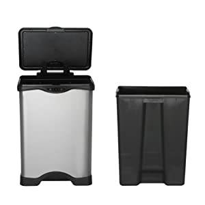 trash can waste bin stainless steel kitchen trash can touchless handsfree germ free recycling bin