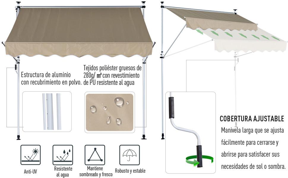 Outsunny Toldo Portátil Balcón Patio Toldo Manual Plegable de ...