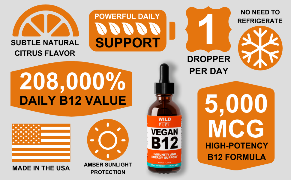 Wild Fuel sublingual vegan B12 liquid - product features