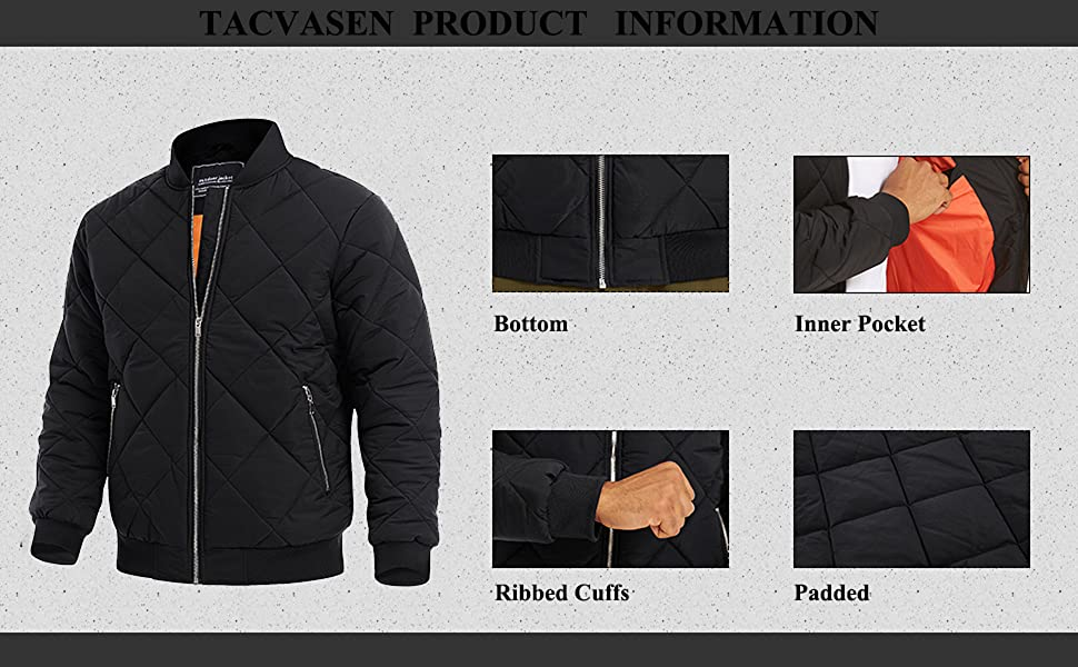 flight winter padded full zip padded zipper pocket active outwear thick line winter casual athletic