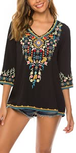 embroidered tops for women
