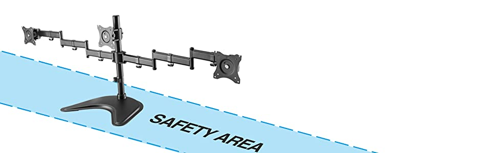 Safety Area Recommendation Prevent risks of desk stand topping by keeping the VESA Joint within