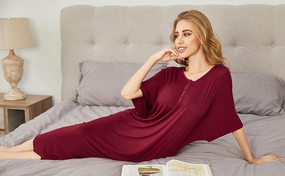 ekouaer women's sleepshirt nightshirt sleepwear nightwear sleeping dress