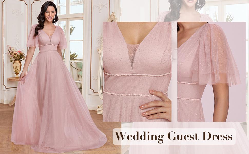 v neck a line dress bridesmaid dress wedding guest dress