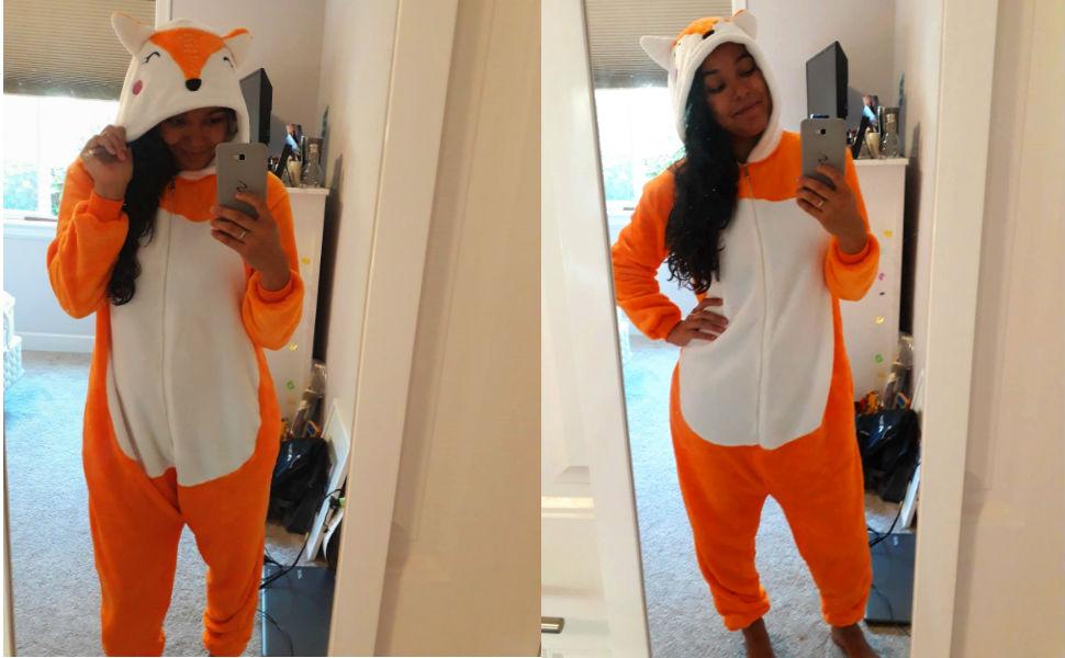 Adult Men Women Fox Onesie Pajamas Plus Size Halloween Costumes Christmas Onsie Pjs XS--2XL