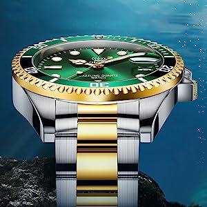 olevs watch men green gold