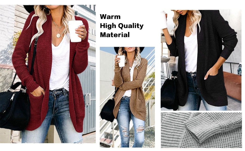 Thenxin Womens Knitted Cardigan Stripes Long Sleeve Open Front Sweater Outwear