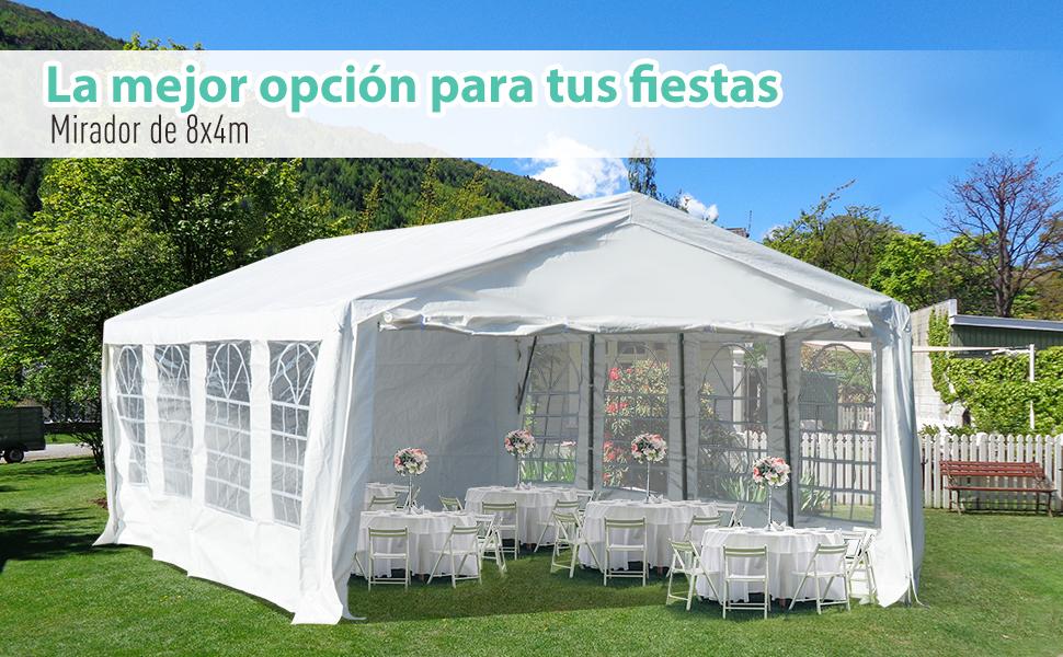 Outsunny Carpa de Jardín Cochera Gazebo 8x4m Pergola Cenador Pabellón 4 Paneles Laterales 8 Ventanas para Fiesta Eventos Bodas Acero PE Blanco: Amazon.es: Jardín