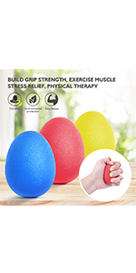 Hand Grip Strength Trainer Balls, Red Yellow Blue