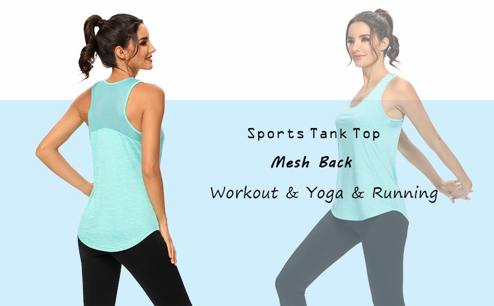 Racerback Mesh Workout Tops for Women