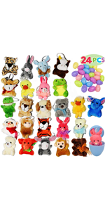 24 Pack Prefilled Easter Eggs of Stuffed Animals