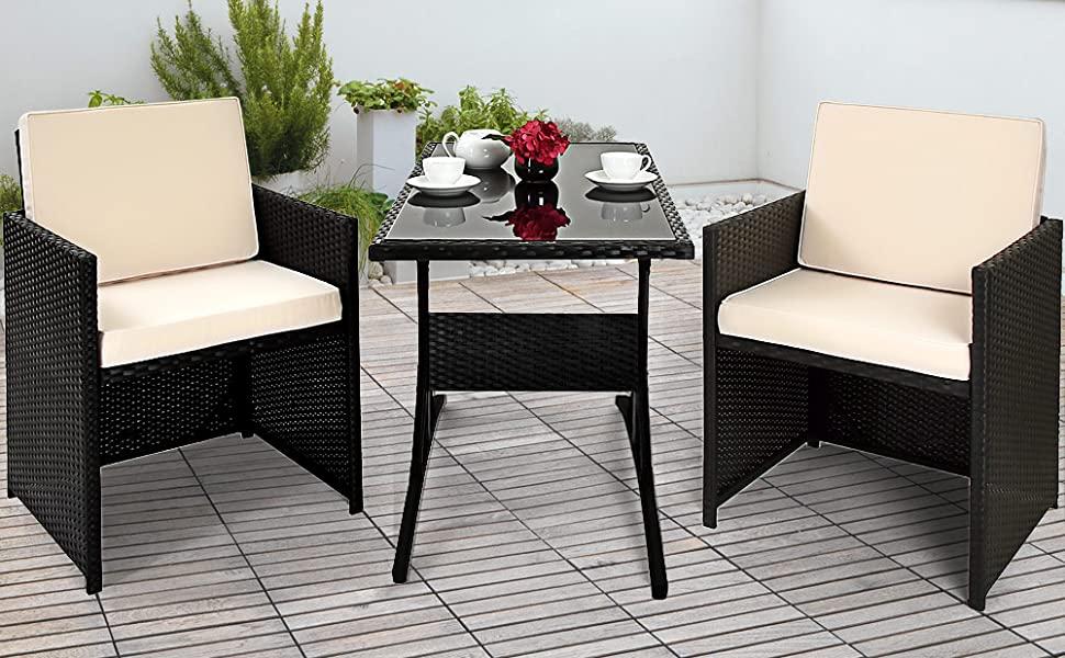 Deuba Conjunto de muebles para balcón Cube de Poliratán 1 mesa 2 sillas 4 cojines compacto Negro jardín terraza patio: Amazon.es: Jardín