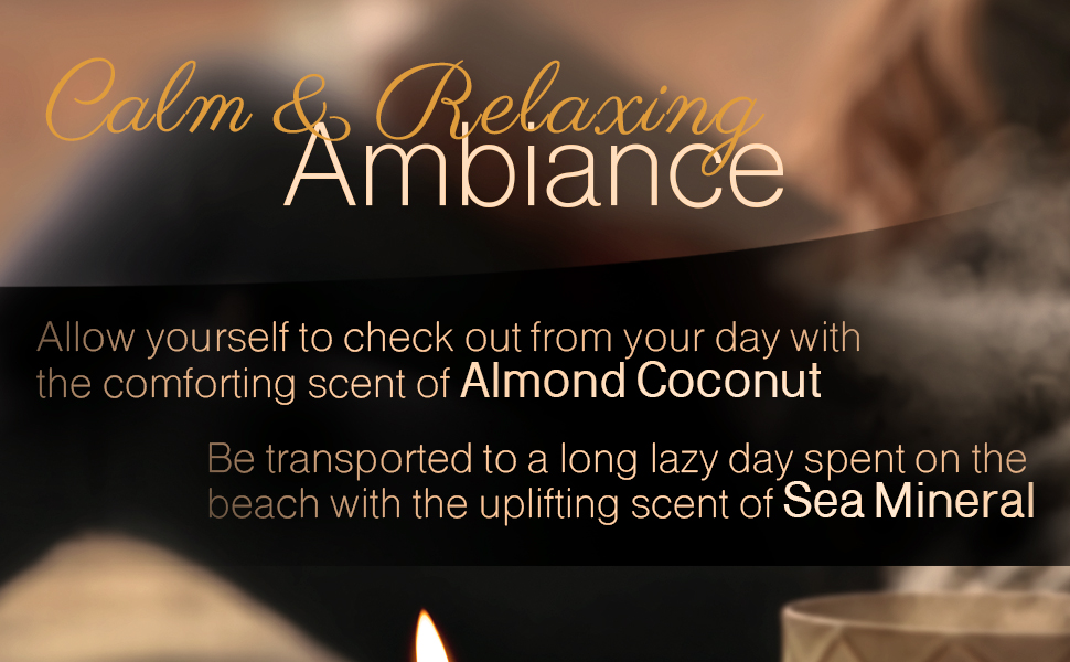 Calm relaxing scented candles, fragrance candle, luxury candle with almond coconut scent sea mineral