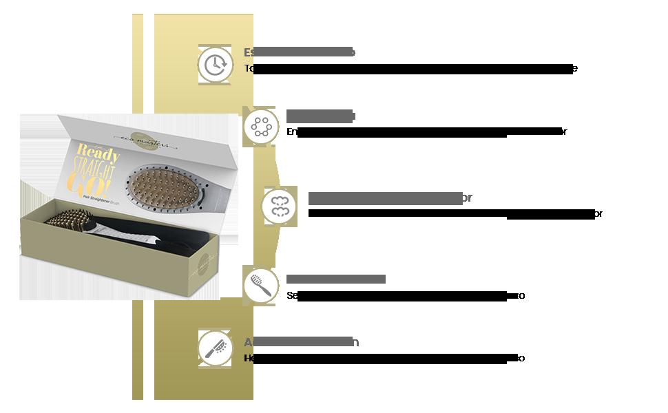 Eco Masters Cepillo Alisador - Peine Térmico Con Placas de Cerámica - Con Tecnología Iónica Para el Control del Encrespado - Plancha Para el Cabello ...
