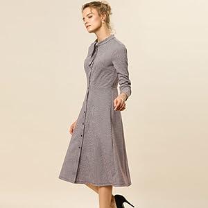 Allegra K Women's Plaid Button Up Tie Neck Midi A-Line Shirt Dress