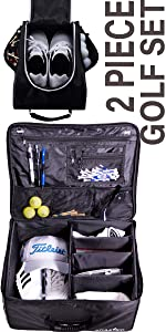 Bundle: Golf Trunk Organizer Storage + Golf Shoe Bag