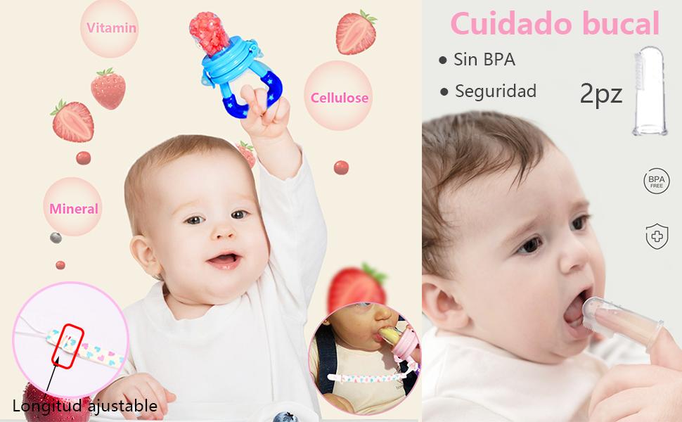3pcs Chupetes para Frutas S/M/L + 1pcs Cadena Chupete + 2pcs ...