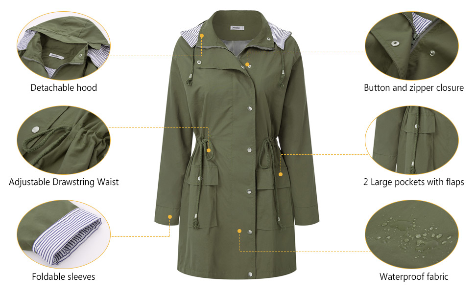 Hooded rain jacket for women