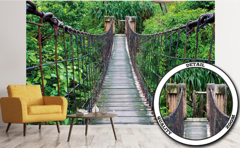 GREAT ART Mural de Pared – Puente Colgante – Decoración