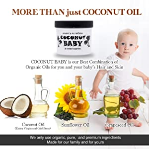 Coconut oil for baby hair skin cradle cap eczema stretch marks styler gel lotion organic natural