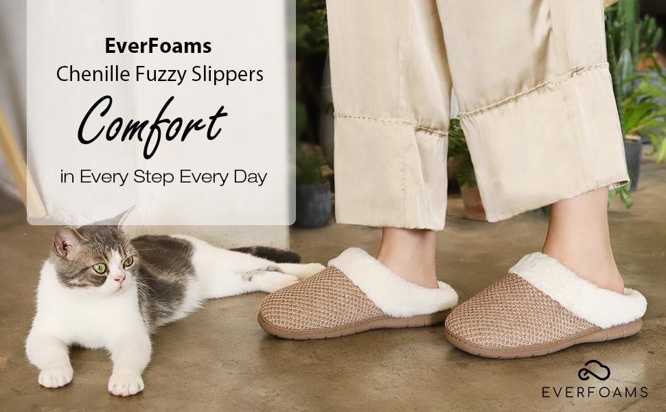 womens fuzzy fluffy chenille memory foam warm house slippers