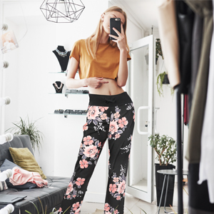 pajama pants for women pj bottoms sleepwear petite design floral cat wine black soft