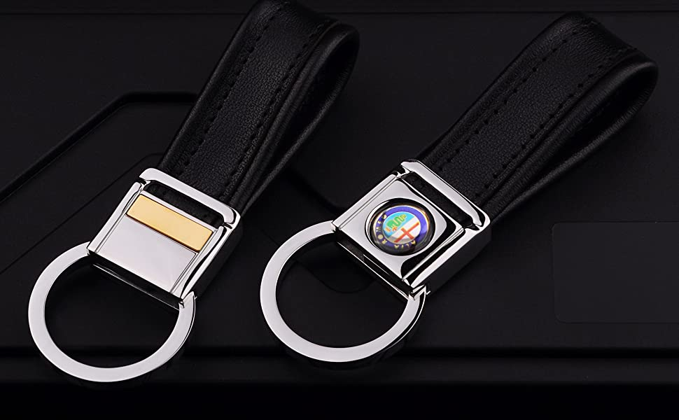 alfa romeo stainless steel leather key chain lanyard clip rings for men woman accessories