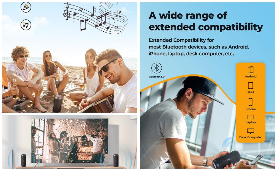 RIENOK TWS Wireless Portable Speaker Stereo Sound Bluetooth 5.0