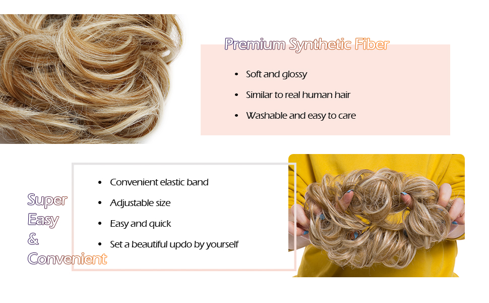 made with premium synthetic fiber, natural as human hair, elastic band design, easy to use