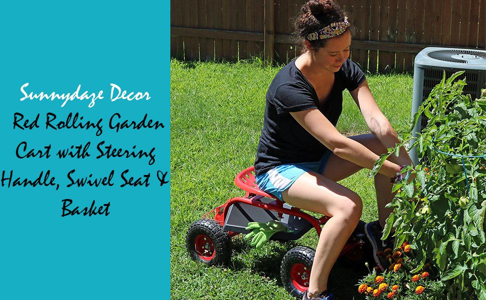 Red Rolling Garden Cart with Steering Handle, Swivel Seat & Basket