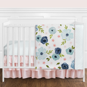 Navy Blue and Pink Watercolor Floral Baby Girl Nursery Crib Bedding Set - 4 pieces