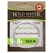 wild water fly fishing 9' 0X tapered monofilament leader