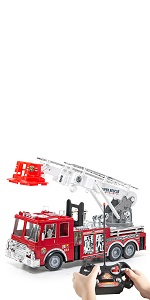 RC 13-Inch Fire Engine Truck with 17-Inch Extendable Ladder