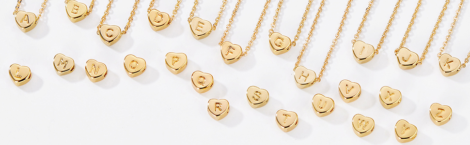 Tiny Gold Initial Heart Necklace Choker Dainty Chain Simple Personalized Jewelry Gift Women Letter