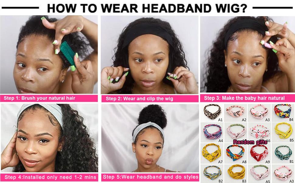 wear headband wig