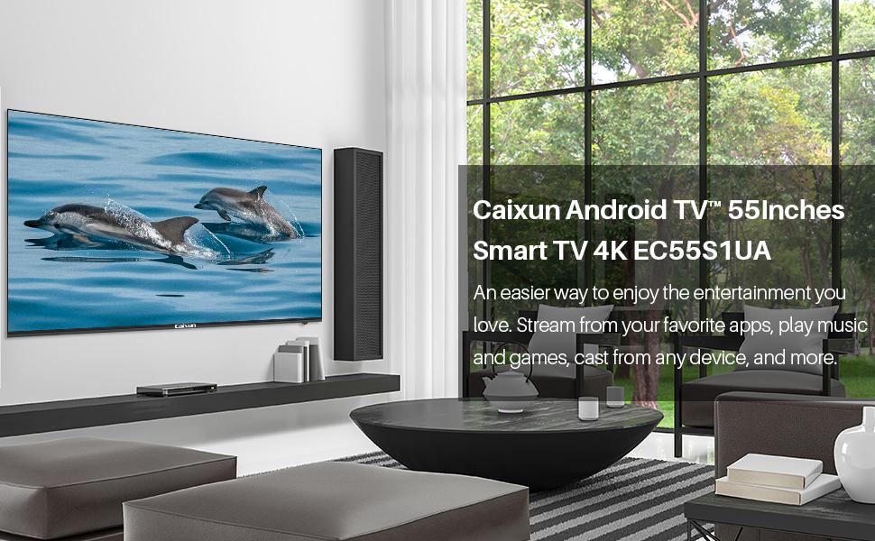 Caixun EC55S1A, Smart TV LED de 55 Pulgadas, 4K Television, HDR10,Bluetooth, Youtube, Netflix, Prime Video,Sintonizador Triple, WiFi, Procesador Quad ...