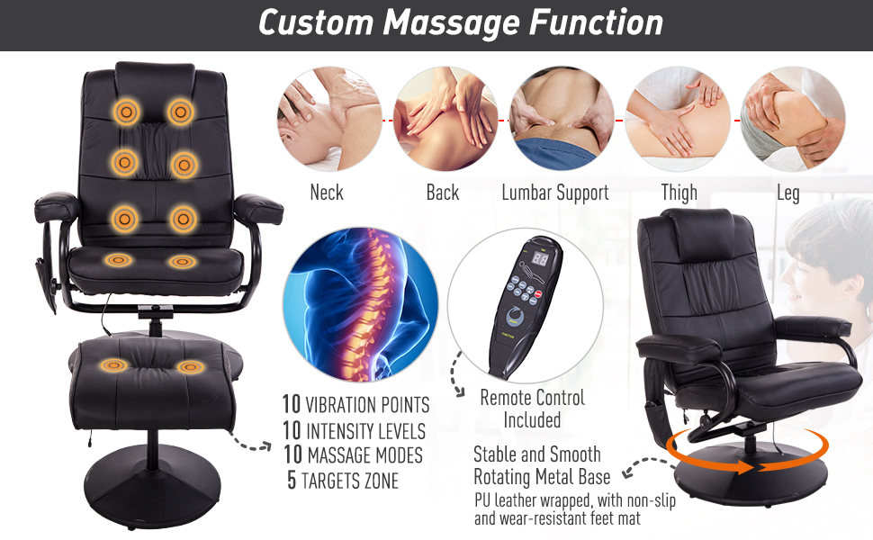 Massage Recliner Ottoman Set Electronic Swivel Armchair