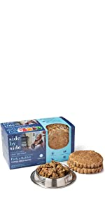 pork, rabbit, freeze dried, dog food, pet food, side by side, natural, ingredients, made in USA,