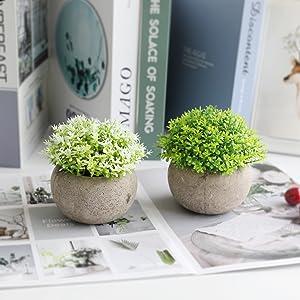 artificial plants in pot