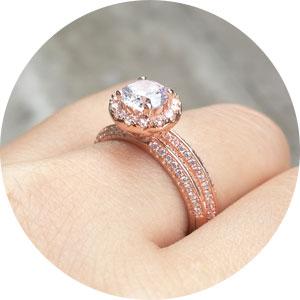 ROSE GOLD wedding ring set for women